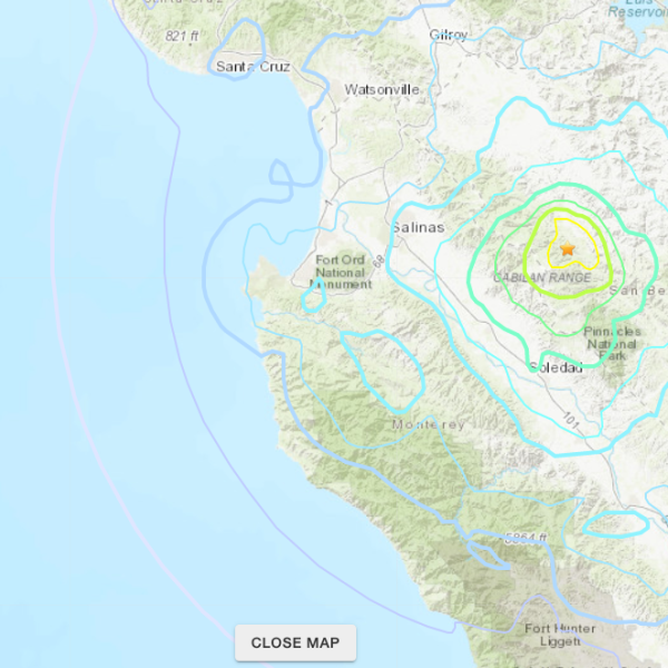 An image from the U.S. Geological Survey shows the epicenter of a preliminary 4.8 magnitude earthquake near Hollister, Calif. on Oct. 15, 2019.