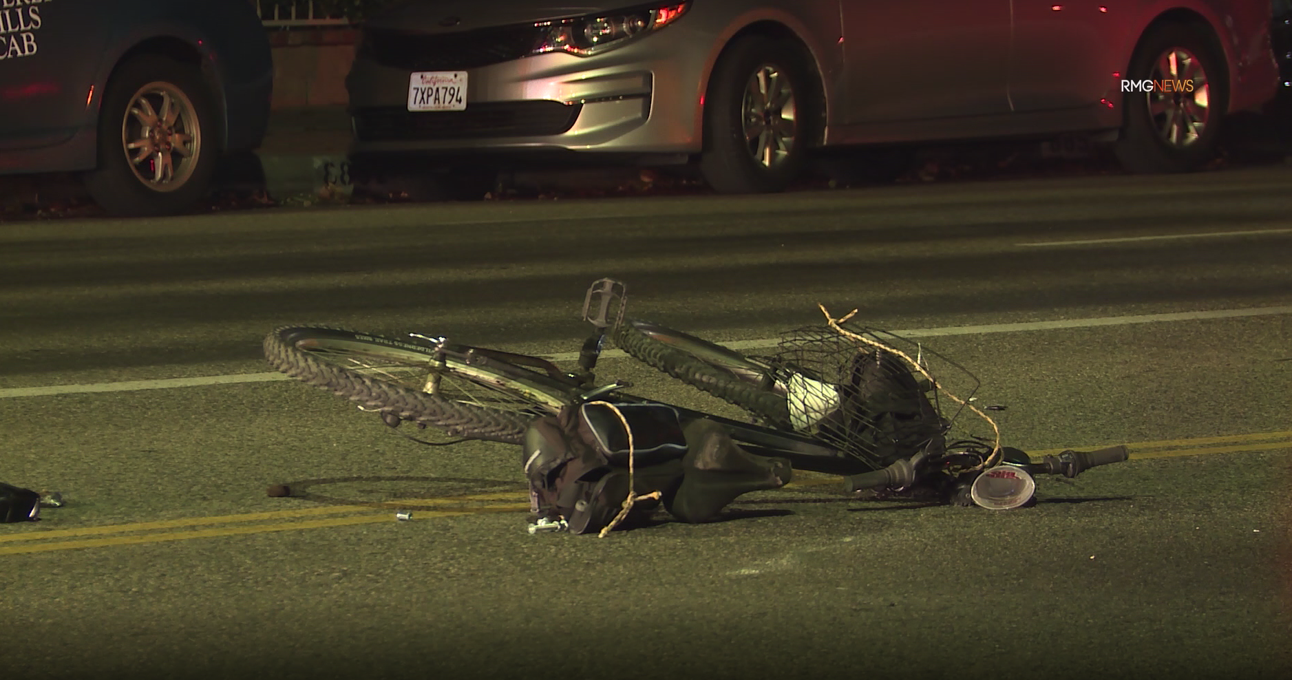 A bicycle lays on the ground at the scene of a fatal hit-and-run collision in North Hills on Oct. 18, 2019. (Credit: RMG News)