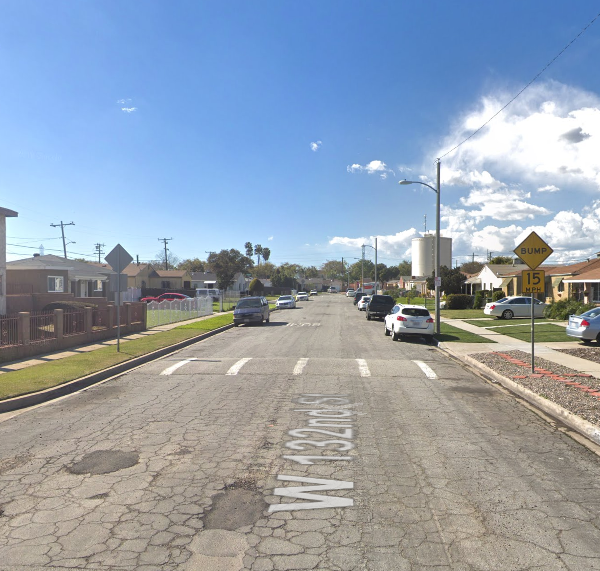 The 2600 block of East 132nd Street in the unincorporated are of Willowbrook in South Los Angeles appears in an image from Google Maps.
