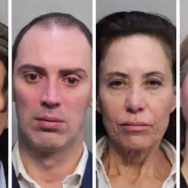 Four American Airlines flight attendants arrested on suspicion of money laundering at Miami International Airport on Oct. 22, 2019. (Credit: Miami-Dade Police Department via CNN)