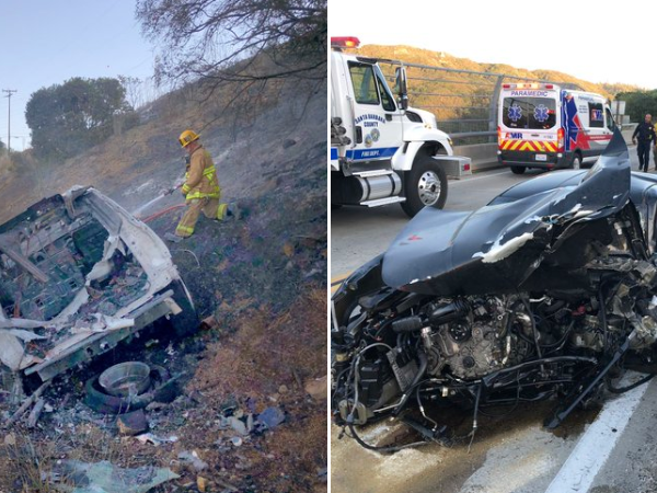 Two vehicles are seen after crashing on Highway 154 north of Santa Barbara on Oct. 25, 2019. (Credit: Santa Barbara County Fire Department)
