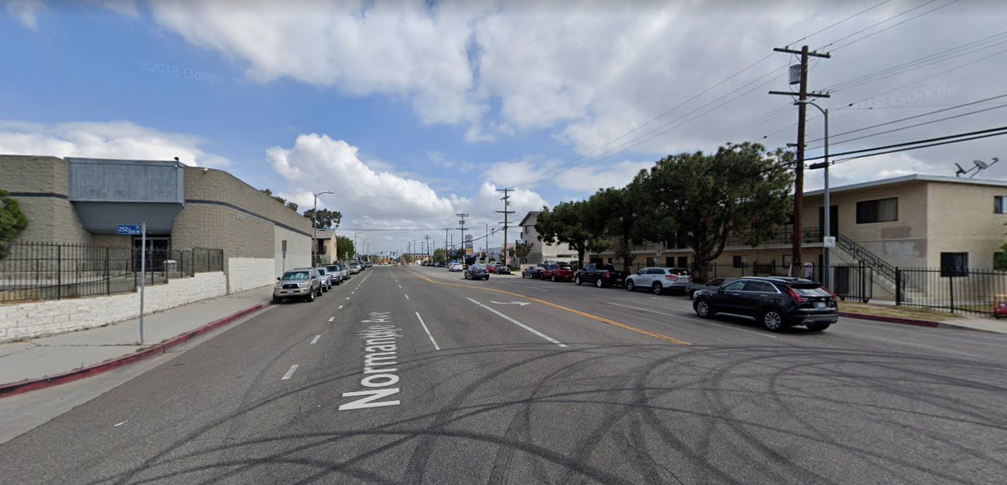 The area of 252nd Street and Normandie Avenue in Harbor City is seen in a Google Maps Street View image.