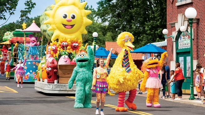 A Sesame Street parade is seen in a photo posted on the website for Sesame Place, which planned to open a location in San Diego in 2021.
