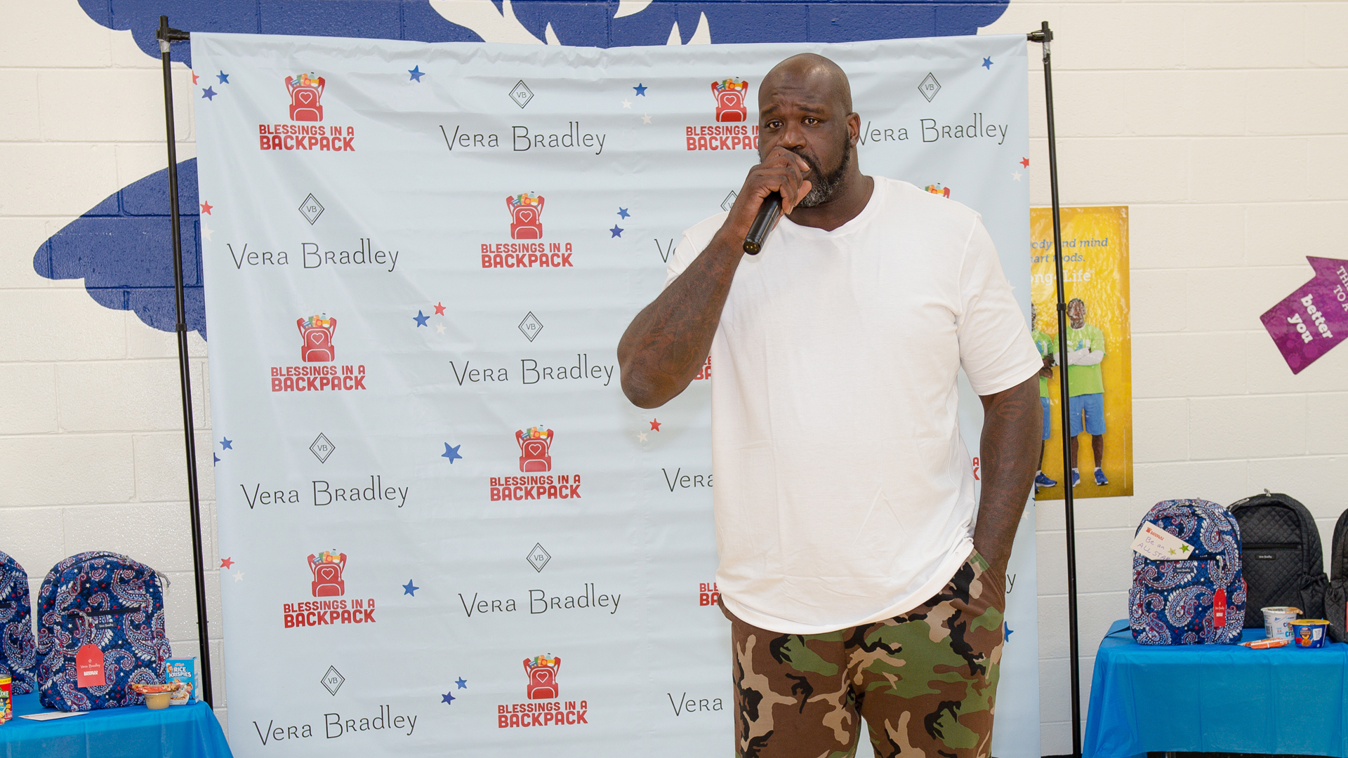 Shaquille O'Neal speaks to students during the Vera Bradley blessing in a backpack at Oakland Elementary School on October 02, 2019 in McDonough, Georgia. (Credit: Marcus Ingram/Getty Images for Vera Bradley)