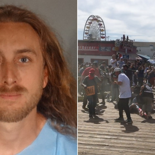 David Dempsey is seen in a booking photo released Oct. 21, 2019, by the Santa Monica Police Department. At right, screaming protestors disperse after what appears to be pepper spray was dispersed in a crowd on the Santa Monica Pier on Oct. 19, 2019. (Credit: KTLA)