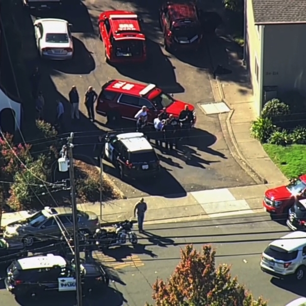 Authorities respond after a shooting near Ridgeway High School in Santa Rosa on Oct. 22, 2019. (Credit: KGO via CNN)