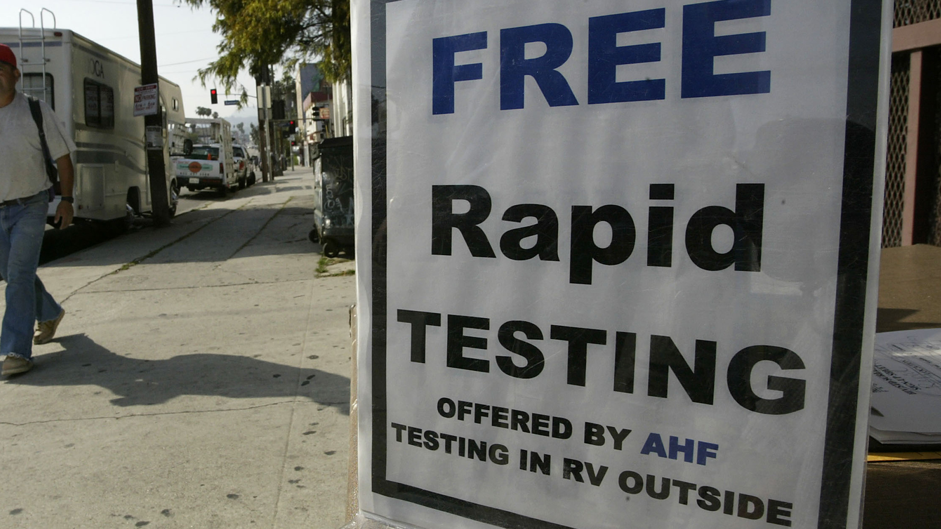 A motorhome converted into a mobile HIV screening lab by the AIDS Healthcare Foundation (AHF) is parked on a busy street on its first day of operations on April 28, 2004 in Los Angeles. (Credit: David McNew/Getty Images)