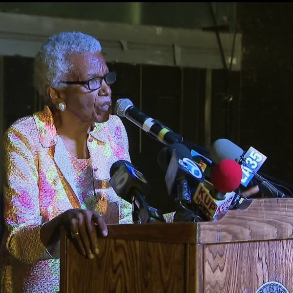 Jewel Thais-Williams speaks during an event to dedicate a square in the Arlington Heights neighborhood of Los Angeles in her name on Oct. 5, 2019. (Credit: KTLA)
