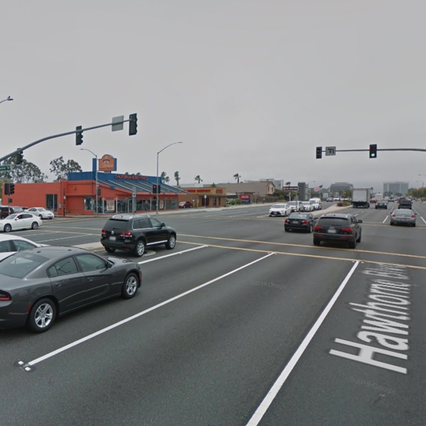 The intersection of Spencer Street and Hawthorne Boulevard in Torrance is seen in a Google Maps Street View image.