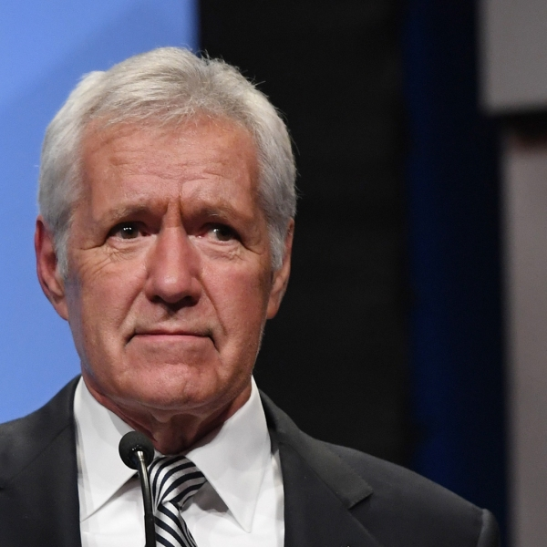 """""""Jeopardy!"""" host Alex Trebek speaks as he is inducted into the National Association of Broadcasters Broadcasting Hall of Fame on April 9, 2018 in Las Vegas, Nevada. (Credit: Ethan Miller/Getty Images)"""