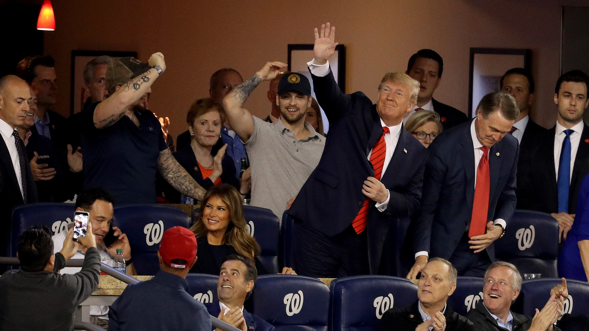 President Donald Trump attends Game Five of the 2019 World Series between the Houston Astros and the Washington Nationals at Nationals Park on October 27, 2019 in Washington, DC. (Credit: Will Newton/Getty Images)