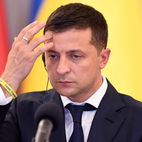 Ukraine's President Volodymyr Zelensky gives a joint press conference at the Presidential Place in Warsaw on August 31, 2019. (Credit: JANEK SKARZYNSKI/AFP/Getty Images)