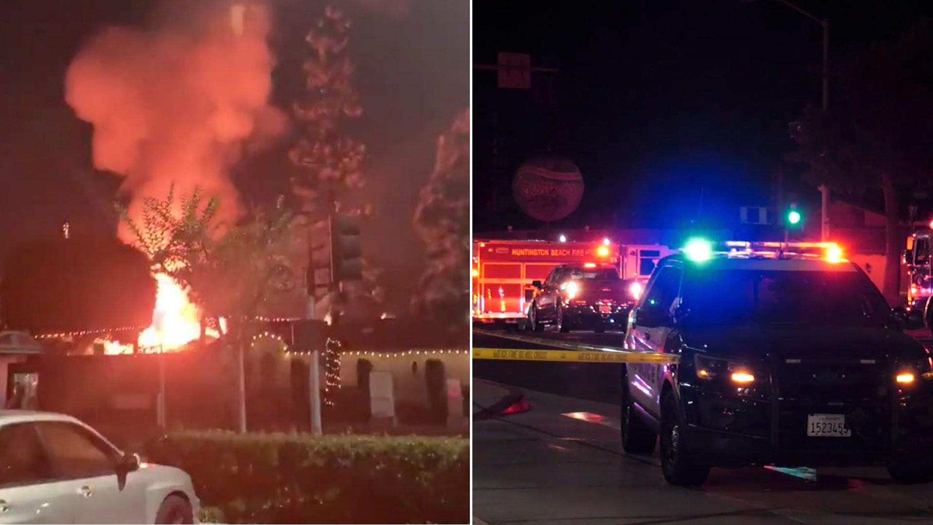 Authorities respond to an explosion that rattled an Oktoberfest celebration at Huntington Beach on Oct. 5, 2019. (Kyle Nelson, KTLA)