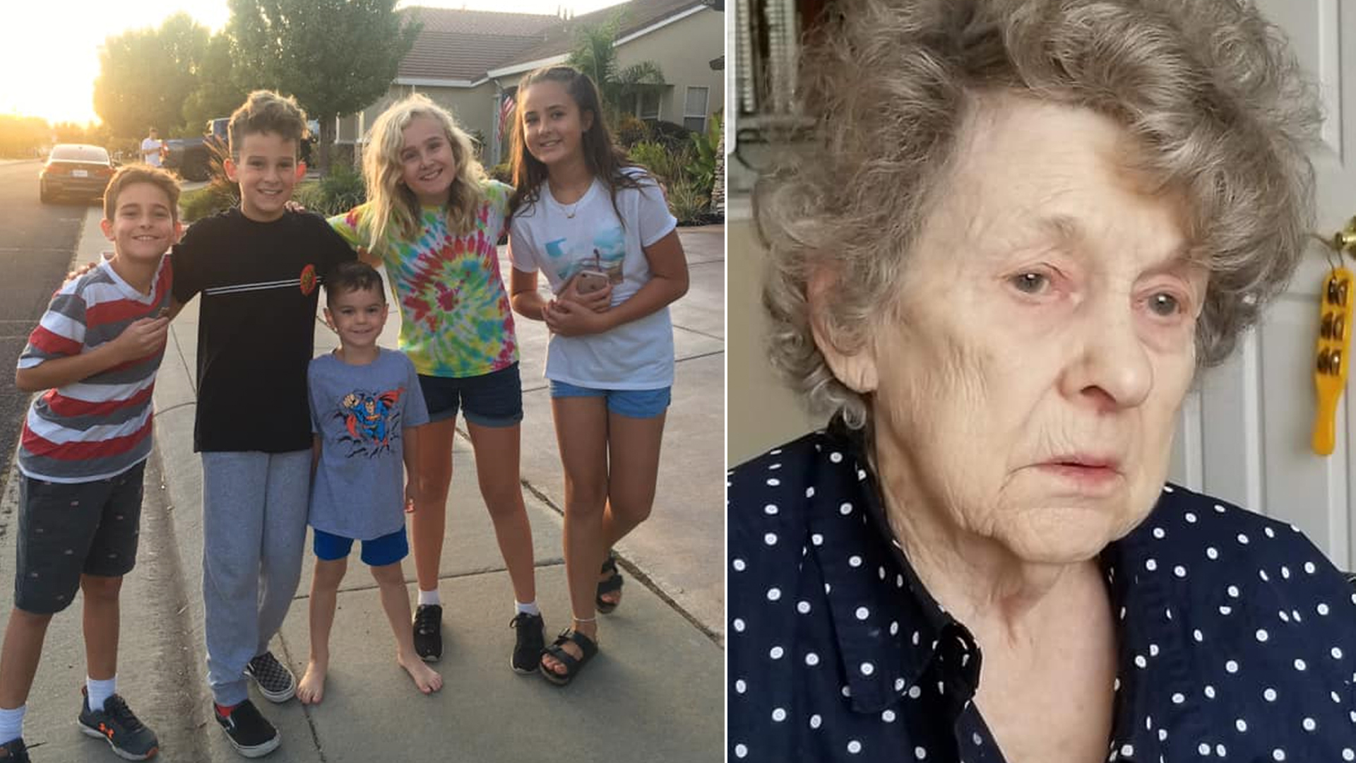 The group of Roseville children and Glenneta Belford, the woman they helped find, are seen in undated photos provided by the City of Roseville Police Department.