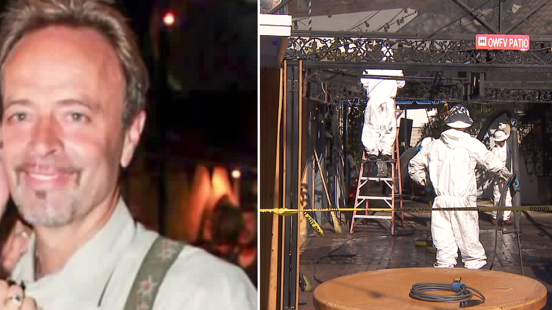 Bernie Bischof is seen in an undated photo provided by his family. On the right, crews clean up the aftermath of an explosion that rattled an Oktoberfest celebration at Huntington Beach. (Credit: KTLA)