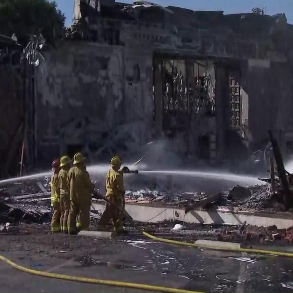 The Good Shepherd Bible Church in Whittier was destroyed in a fire on Oct. 31, 2019. (Credit: KTLA)