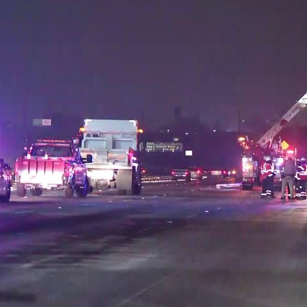 A big rig crash closed multiple lanes of the southbound 110 Freeway through the Harbor Gateway area on Nov. 7, 2019. (Credit: KTLA)