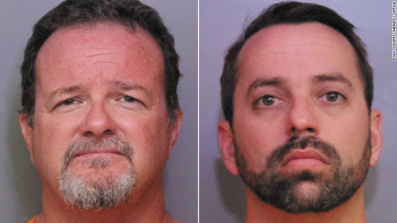 Donald Durr Jr. (left) and Brett Kinney (right) are in undated booking photos. (Credit: Polk County Sheriff's Office via CNN)