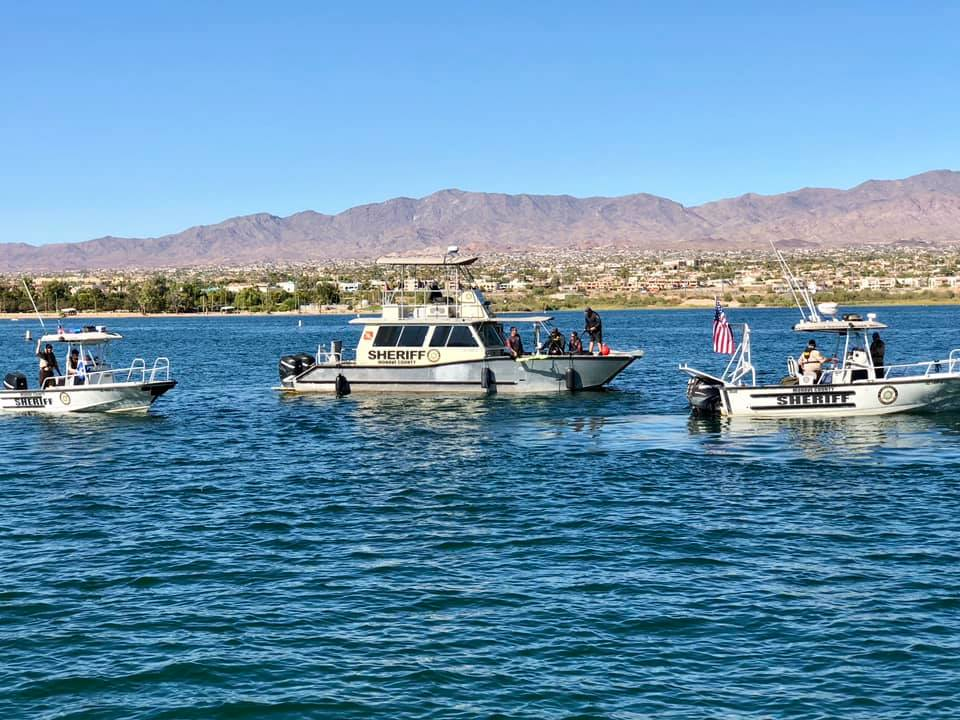 Rescue boats are seen in Lake Havasu in a file photo released by the Mohave County Sheriff's Office onAug. 21, 2019.
