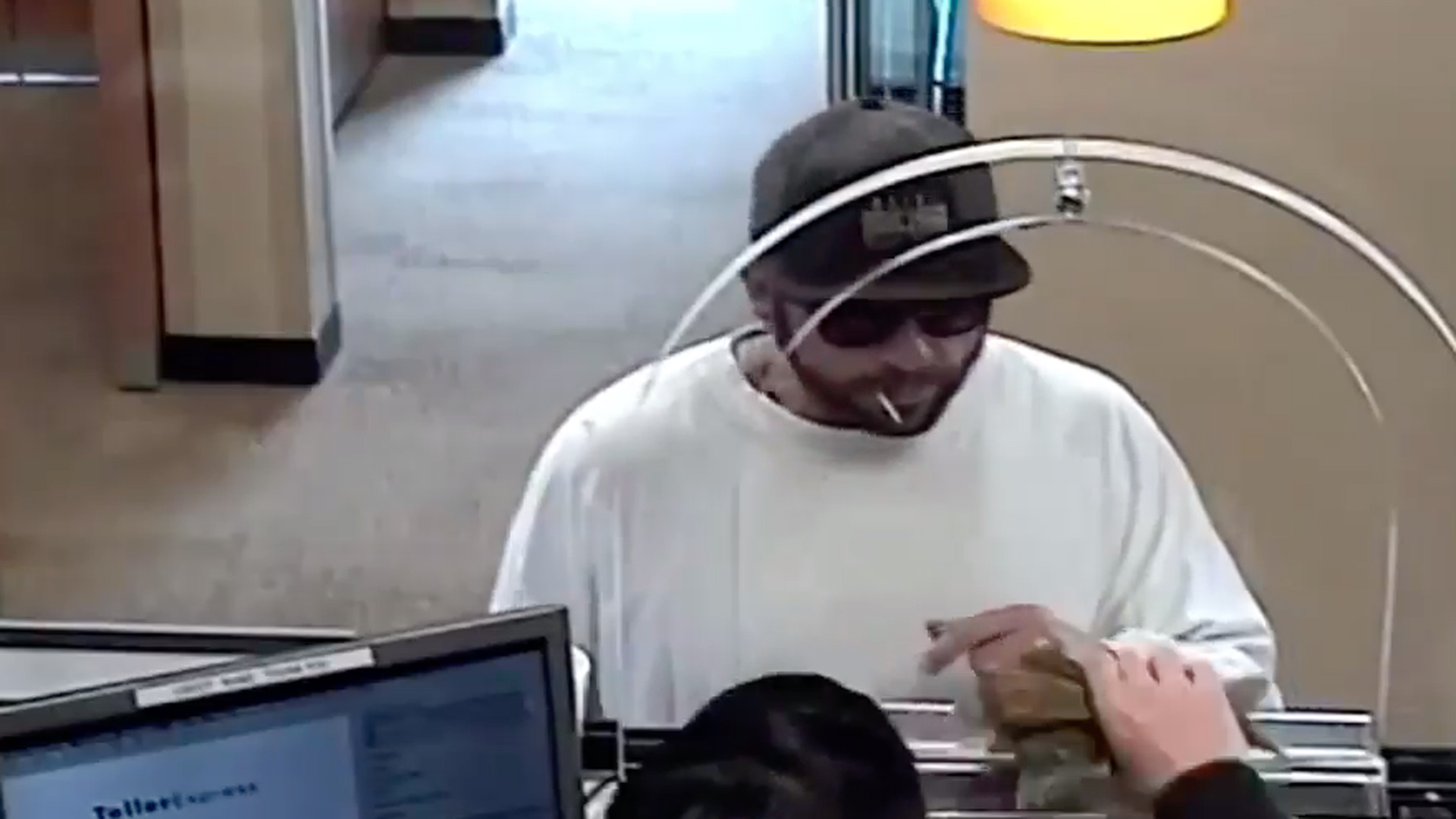 Police are seeking the man pictured in this surveillance video in connection with the robbery of a Chase bank in Rancho Cucamonga on Nov. 1, 2019. (Credit: San Bernardino County Sheriff's Department)
