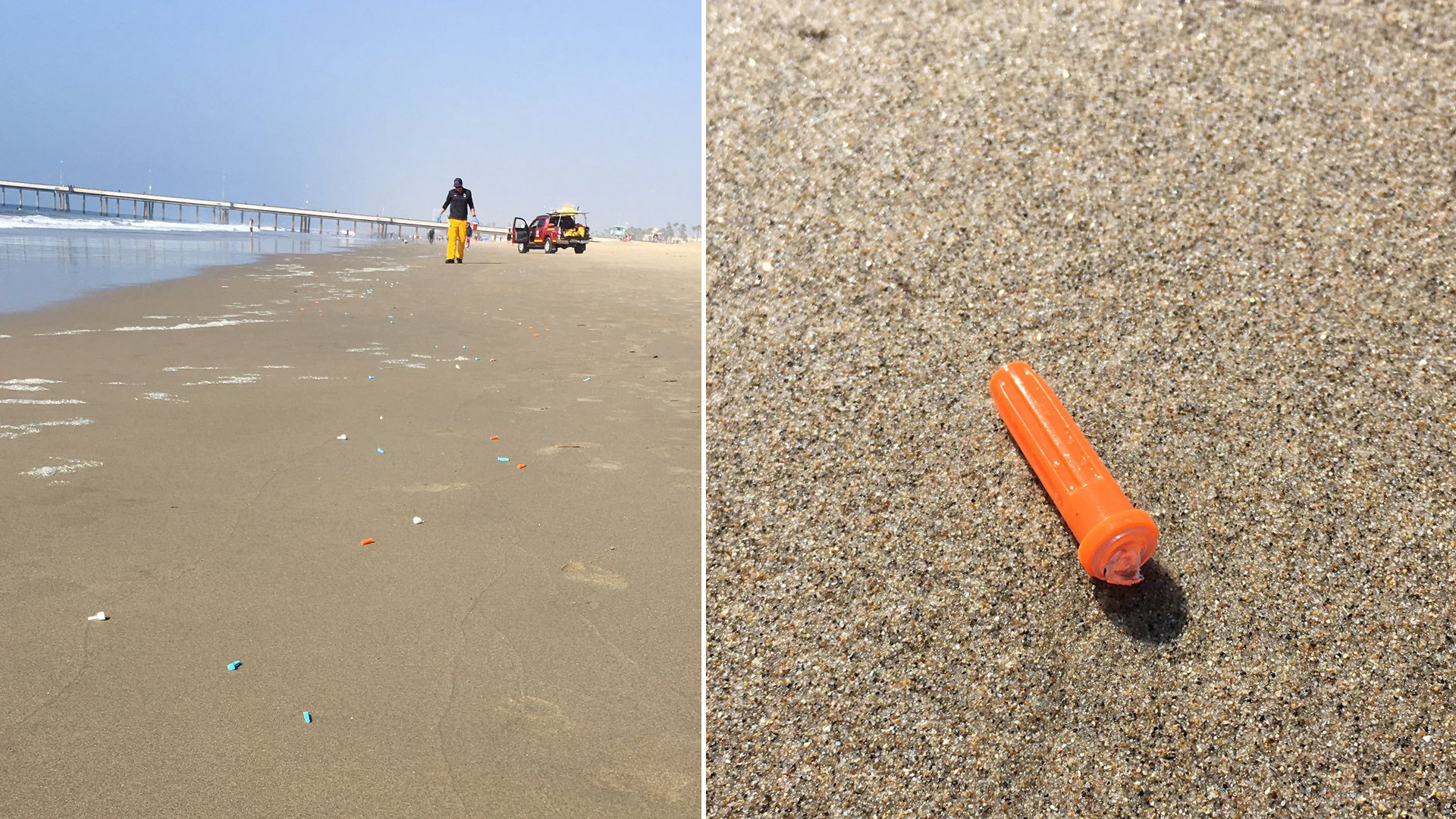 Medical supplies were found along the short of Venice Beach on Nov. 10, 2019. (Credit: LA County Fire Department Lifeguard Division)