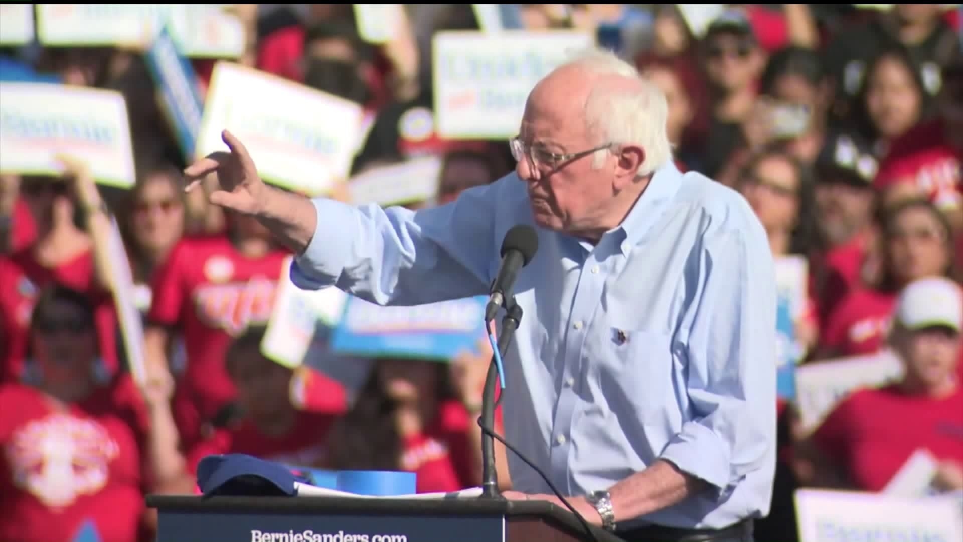 Senator Bernie Sanders speaks at a rally in El Sereno on Nov. 16, 2019. (Credit: KTLA)