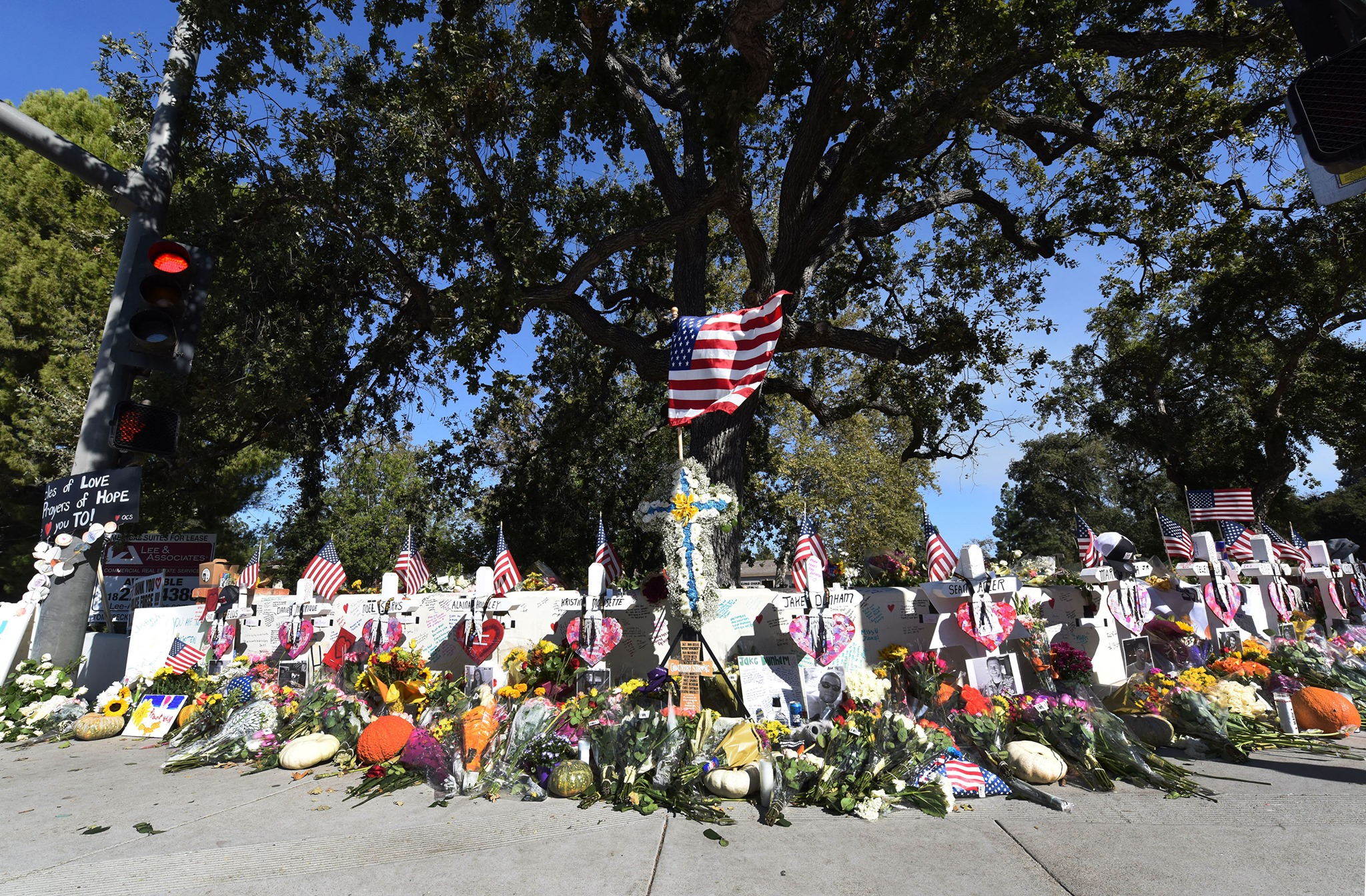 A memorial for the victims of the Borderline Bar & Grill mass shooting in Thousand Oaks appears in a photo posted by the Ventura County Sheriff's Office to Facebook on Nov. 7, 2019.