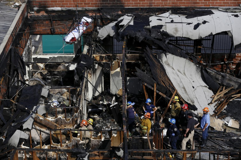 Five people were killed after a fire tore through this building in the Westlake district of Los Angeles on June 13, 2016. (Credit: Francine Orr / Los Angeles Times)