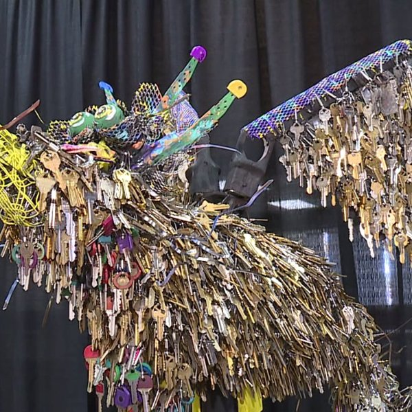 A phoenix sculpture made from the keys of homes destroyed in the Camp Fire. (Credit: KTXL)