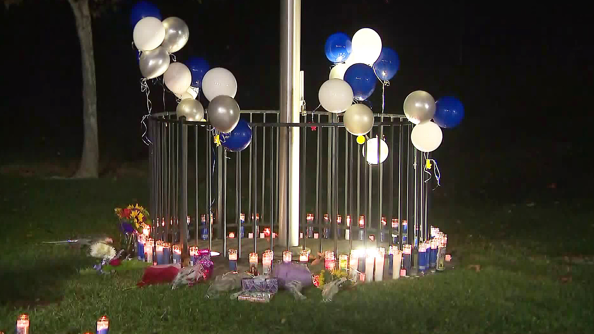 A growing memorial is seen at Central Park near Saugus High School on Nov. 15, 2019. (Credit: KTLA)
