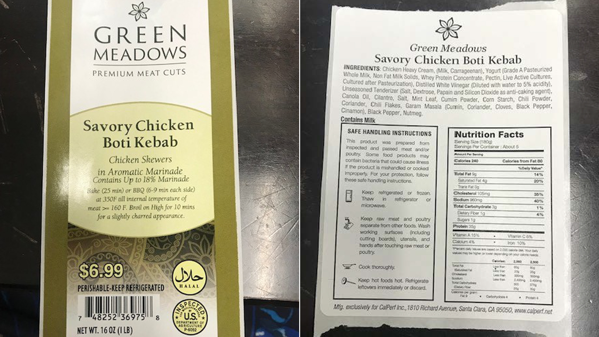 Labels for a recalled Green Meadows-brand chicken product are seen in images released Nov. 13, 2019, by the U.S. Department of Agriculture's Food Safety and Inspection Service.