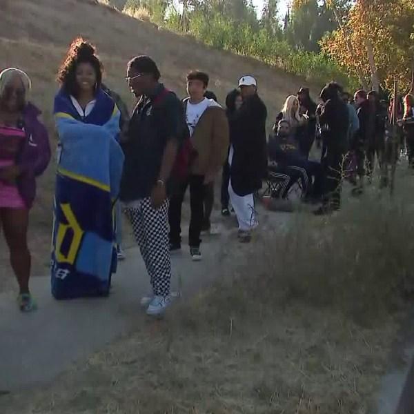 A yard sale at Chris Brown's Tarzana home drew a crowd on Nov. 6, 2019. (Credit: KTLA)