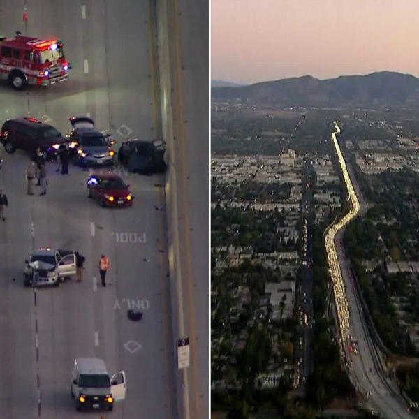 A crash involving at least five vehicles caused a miles-long backup on the southbound 405 Freeway in the Van Nuys area on Nov. 5, 2019. (Credit: Sky5)