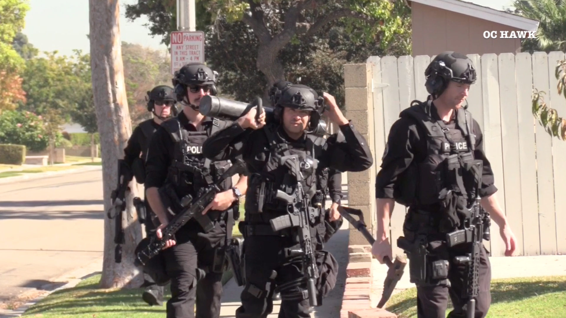 Garden Grove police arrested an off-duty Cypress police officer following a standoff on Nov. 8, 2019. (Credit: OC Hawk)