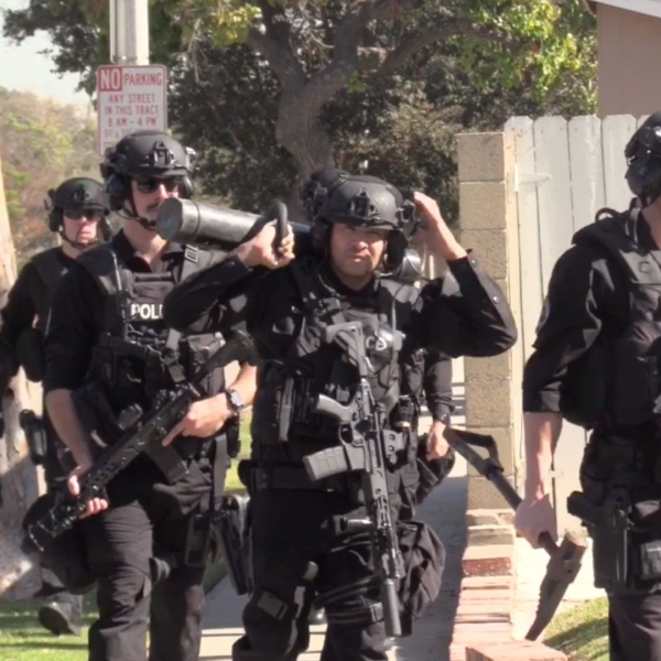 Garden Grove police arrested an off-duty Cypress police officer following a standoff on Nov. 8, 2019. (Credit: OC Hawk)