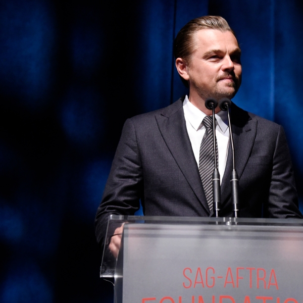Leonardo DiCaprio speaks onstage during SAG-AFTRA Foundation's 4th Annual Patron of the Artists Awards at Wallis Annenberg Center for the Performing Arts on November 07, 2019 in Beverly Hills, California. (Credit: Vivien Killilea/Getty Images for SAG-AFTRA Foundation)