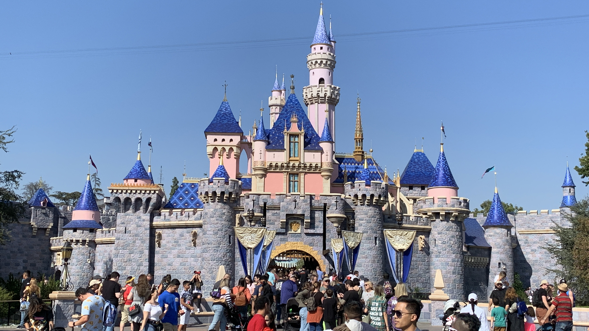 The Sleeping Beauty castle is seen at Disneyland on Oct. 14, 2019. (KTLA)