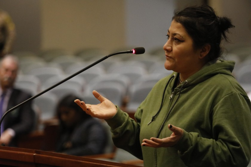 Valerie Vargas, who lost her nephew Anthony Vargas in a shooting involving Los Angeles County sheriff's deputies, speaks to members of the Civilian Oversight Commission on Nov. 19, 2019. (Credit: Genaro Molina / Los Angeles Times)