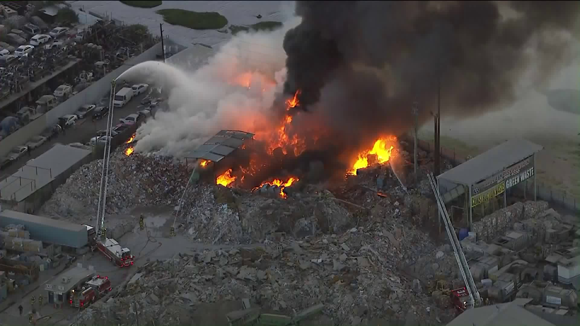 A fire broke out at a recycling yard in Atwater Village on Nov. 1, 2019. (Credit: KTLA)