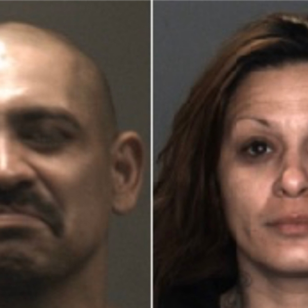 David Joseph Aviles, 44, of Fontana (left) and Jessica Mari Valdez, 36, of San Bernardino (right), pictured in photos released by the Fontana Police Department following their arrests on Nov. 13, 2019.