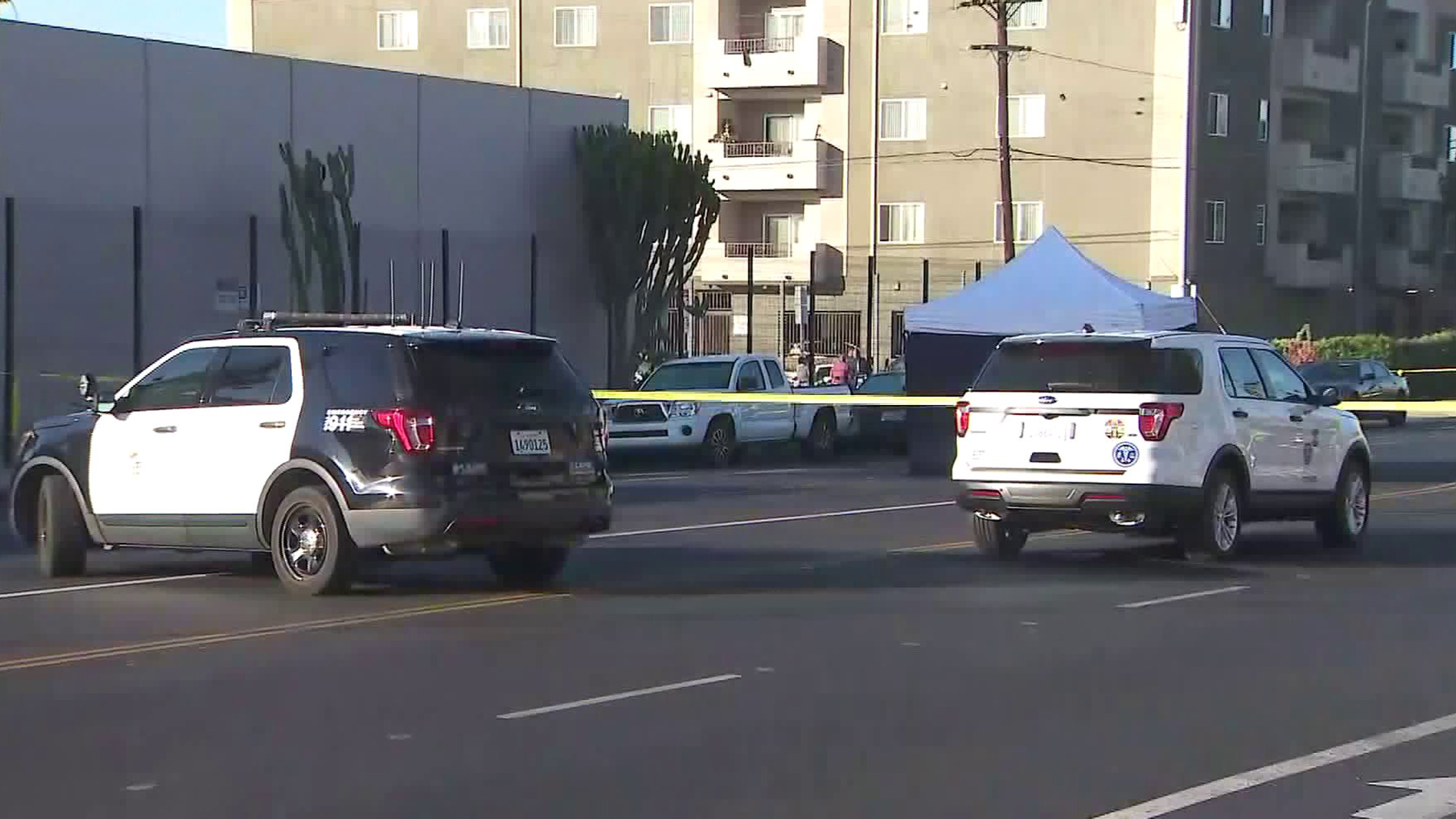 The scene of a fatal hit-and-run crash in Panorama City on Nov. 16, 2019. (Credit: KTLA)