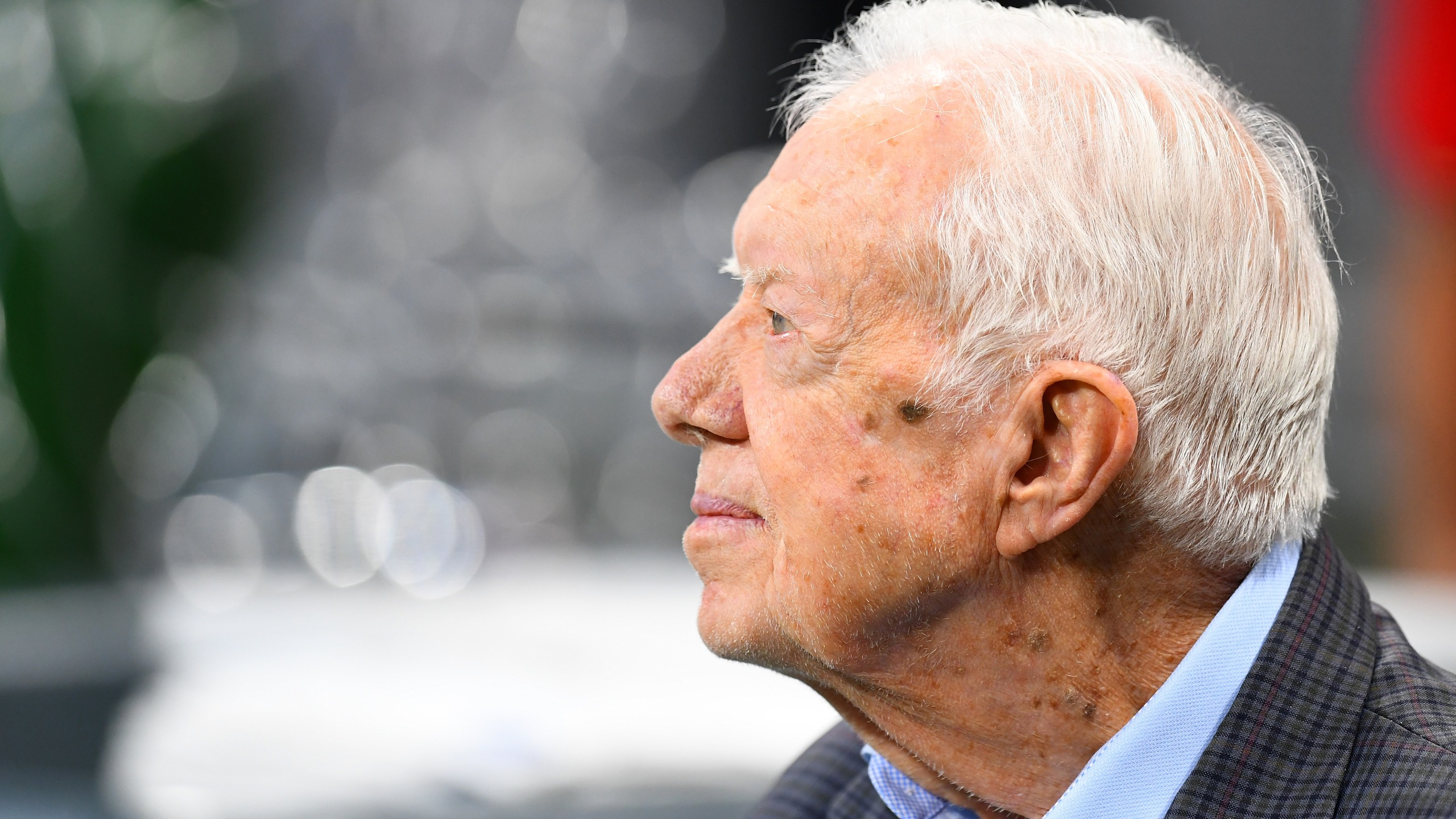Jimmy Carter attends a game between the Atlanta Falcons and the Cincinnati Bengals at Mercedes-Benz Stadium on Sept. 30, 2018 in Atlanta, Georgia. (Credit: Scott Cunningham/Getty Images)