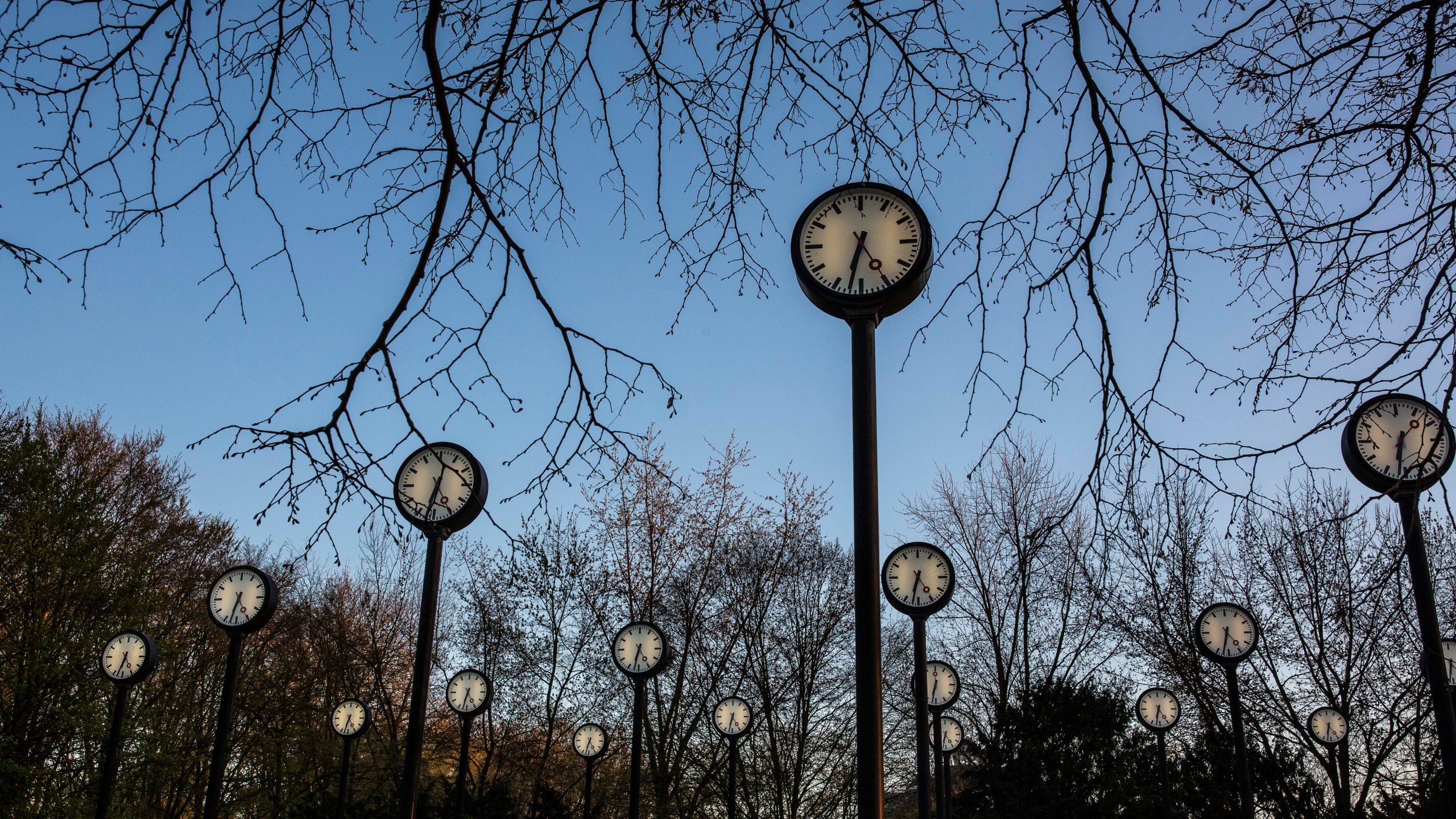 """The """"Zeitfeld"""" (Time Field) clock installation by Klaus Rinke is seen at the entrance of the Suedpark, on March 29, 2019, in Dusseldorf Germany. (Credit: Maja Hitij/Getty Images)"""