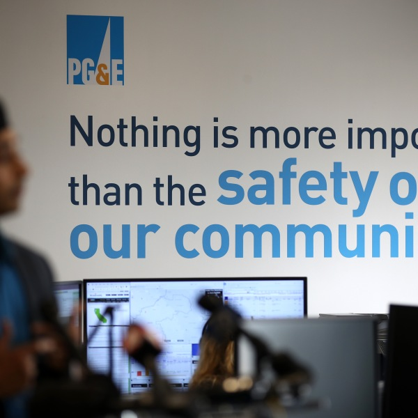 A message is displayed on a wall inside the Pacific Gas and Electric Wildfire Safety Operations Center on Aug. 5, 2019 in San Francisco. (Justin Sullivan/Getty Images)