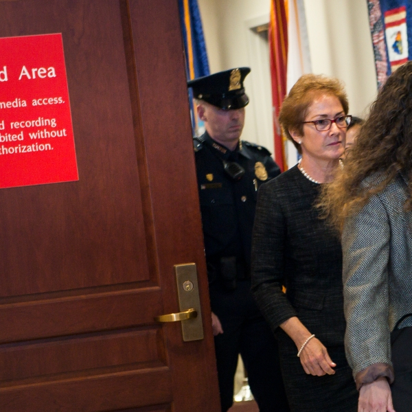 Former U.S. ambassador to Ukraine Marie Yovanovitch exits the restricted area of the U.S. Capitol on Oct. 11, 2019. (Credit: Liz Lynch/Getty Images)