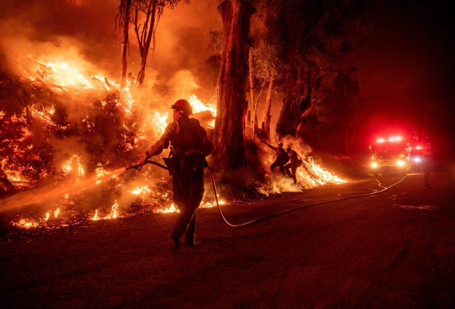 Firefighters work to control flames from a backfire during the Maria Fire near Santa Paula on Nov. 1, 2019. (Credit: JOSH EDELSON/AFP via Getty Images)