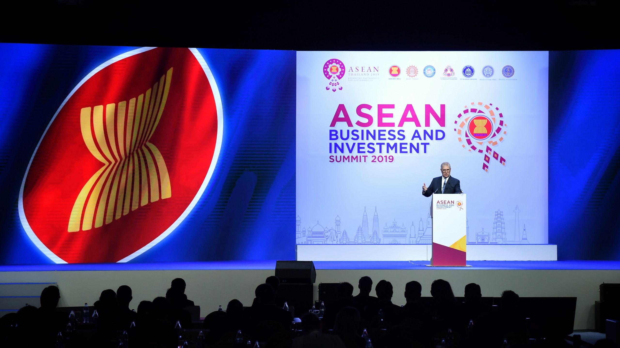 Britain's Prince Andrew, Duke of York speaks at the ASEAN Business and Investment Summit in Bangkok on Nov. 3, 2019, on the sidelines of the 35th Association of Southeast Asian Nations (ASEAN) Summit. (Credit: LILLIAN SUWANRUMPHA/AFP via Getty Images)