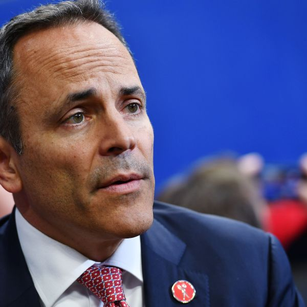 Kentucky Gov. Matt Bevin speaks before the start of a rally at Rupp Arena in Lexington, Kentucky, on November 4, 2019. (Credit: MANDEL NGAN/AFP via Getty Images)