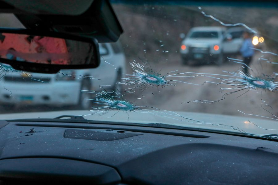 This photo shows a view from inside the car where members of the LeBaron family were killed during an ambush in Bavispe, Sonora mountains, Mexico, on Nov. 5, 2019. (Credit: Herika Martinez / AFP / Getty Images)