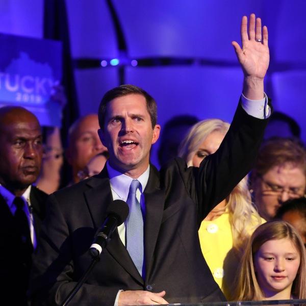 Apparent Gov.-elect Andy Beshear celebrates with supporters after voting results showed the Democrat holding a slim lead over Republican Gov. Matt Bevin at C2 Event Venue on November 5, 2019 in Louisville, Kentucky. (Credit: John Sommers II/Getty Images)